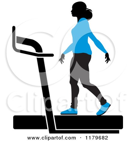 Clipart of a Silhouetted Woman in a Blue Outfit, Walking on a Treadmill - Royalty Free Vector Illustration by Lal Perera