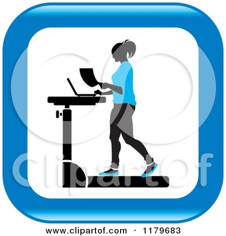 Clipart of an Icon of a Silhouetted Woman in Blue, Walking at a Treadmill Work Station Desk - Royalty Free Vector Illustration by Lal Perera