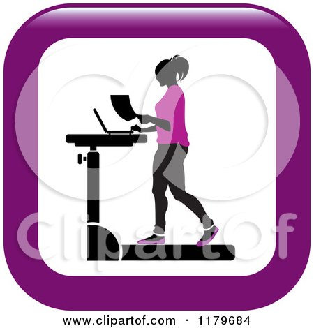 Clipart of an Icon of a Silhouetted Woman in Purple, Walking at a Treadmill Work Station Desk - Royalty Free Vector Illustration by Lal Perera