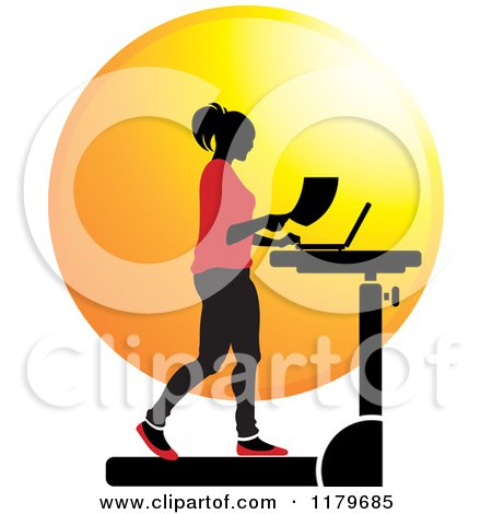 Clipart of a Silhouetted Woman in Red, Walking at a Treadmill Work Station Desk - Royalty Free Vector Illustration by Lal Perera