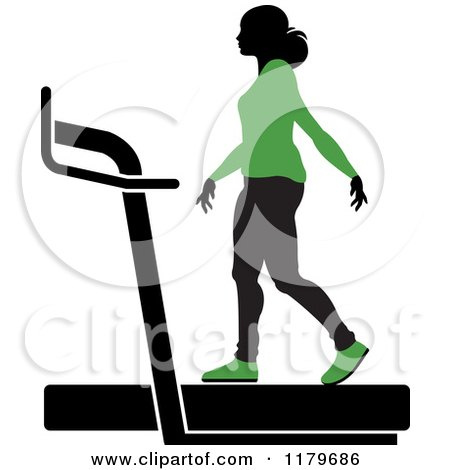 Clipart of a Silhouetted Woman in a Green Outfit, Walking on a Treadmill - Royalty Free Vector Illustration by Lal Perera