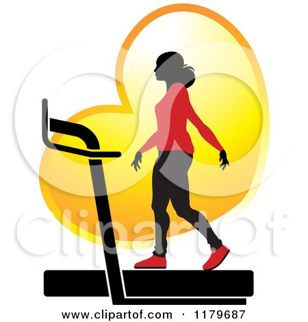 Clipart of a Silhouetted Woman in a Red Outfit, Walking on a Treadmill over a Golden Heart - Royalty Free Vector Illustration by Lal Perera