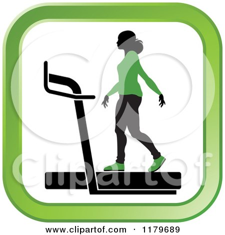 Clipart of a Silhouetted Woman in a Green Outfit, Walking on a Treadmill in a Square - Royalty Free Vector Illustration by Lal Perera
