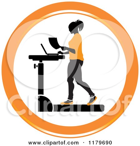 Clipart of an Icon of a Silhouetted Woman in Orange, Walking at a Treadmill Work Station Desk - Royalty Free Vector Illustration by Lal Perera