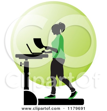 Clipart of a Silhouetted Woman in Green, Walking at a Treadmill Work Station Desk - Royalty Free Vector Illustration by Lal Perera