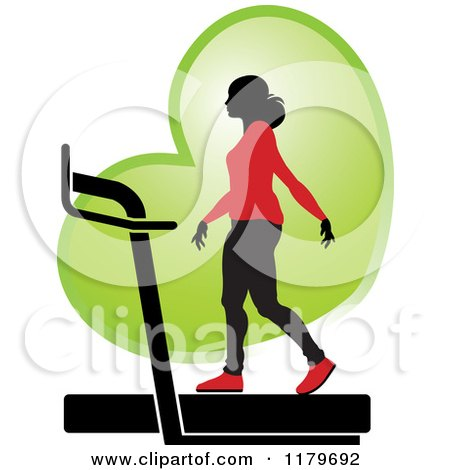 Clipart of a Silhouetted Woman in a Red Outfit, Walking on a Treadmill over a Green Heart - Royalty Free Vector Illustration by Lal Perera