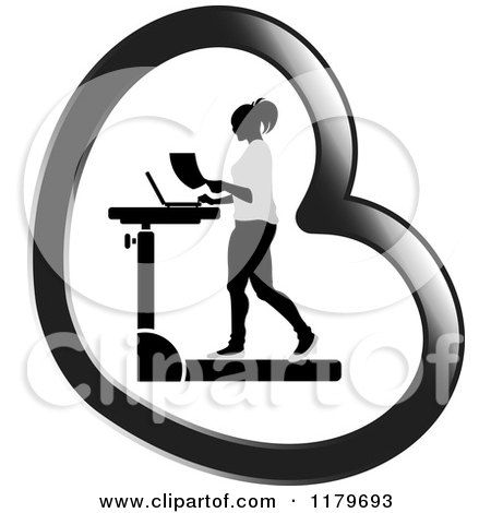 Clipart of a Silhouetted Woman Walking at a Treadmill Work Station Desk in a Heart - Royalty Free Vector Illustration by Lal Perera