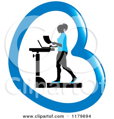 Clipart of a Silhouetted Woman in Blue, Walking at a Treadmill Work Station Desk in a Heart - Royalty Free Vector Illustration by Lal Perera