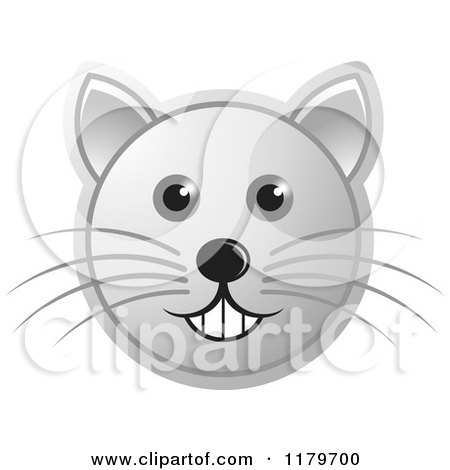 Clipart of a Smiling Blue Cat Face with Whiskers - Royalty Free ...