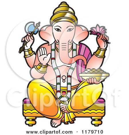 Clipart of the Hindu Indian God Ganesha - Royalty Free Vector Illustration by Lal Perera