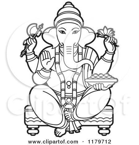 Clipart Of A Black And White Hindu Indian God Ganesha In