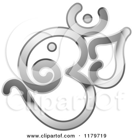 Clipart of a Shiny Reflective Silver Om or Aum Hinduism Symbol - Royalty Free Vector Illustration by Lal Perera