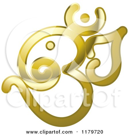 Clipart of a Shiny Reflective Gold Om or Aum Hinduism Symbol - Royalty Free Vector Illustration by Lal Perera