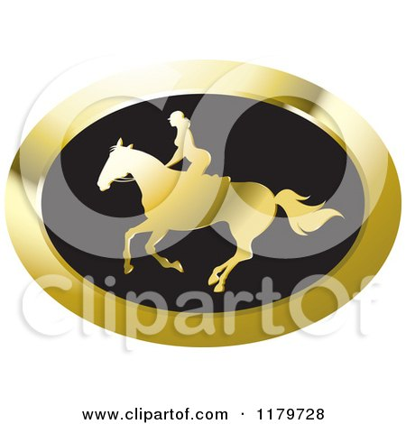 Clipart of a Gold and Black Silhouetted Woman Horseback Riding Icon - Royalty Free Vector Illustration by Lal Perera