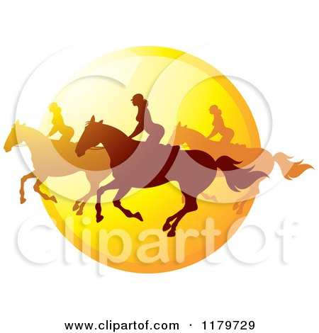 Clipart of Silhouetted Women Horseback Riding Against a Sunset Icon - Royalty Free Vector Illustration by Lal Perera