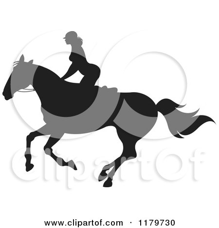 Clipart of a Silhouetted Woman Horseback Riding - Royalty Free Vector Illustration by Lal Perera