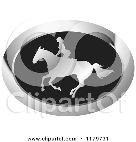Clipart of a Silver and Black Silhouetted Woman Horseback Riding Icon - Royalty Free Vector Illustration by Lal Perera