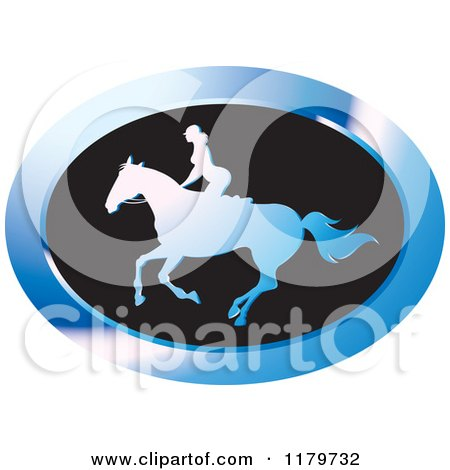 Clipart of a Blue and Black Silhouetted Woman Horseback Riding Icon - Royalty Free Vector Illustration by Lal Perera