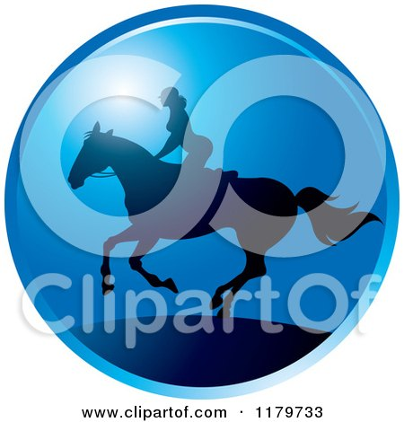 Clipart of a Silhouetted Woman Horseback Riding Against a Blue Sky - Royalty Free Vector Illustration by Lal Perera
