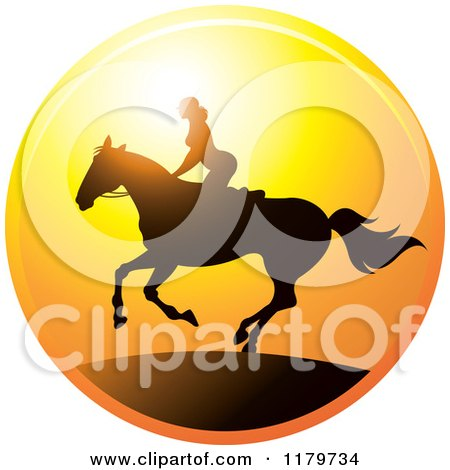 Clipart of a Silhouetted Woman Horseback Riding Against a Sunset - Royalty Free Vector Illustration by Lal Perera
