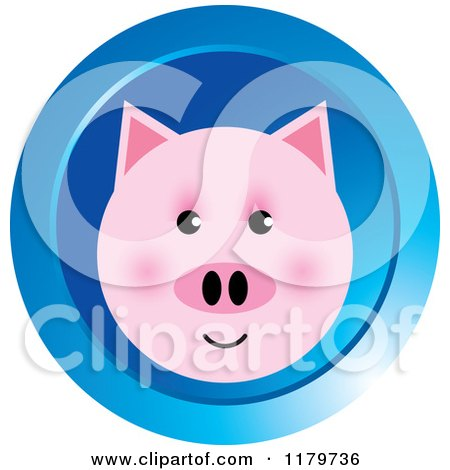 Clipart of a Pink Pig Face on a Blue Icon - Royalty Free Vector Illustration by Lal Perera