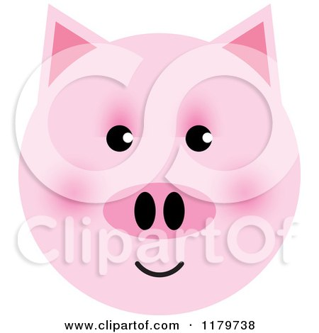 Clipart of a Pink Pig Face - Royalty Free Vector Illustration by Lal Perera