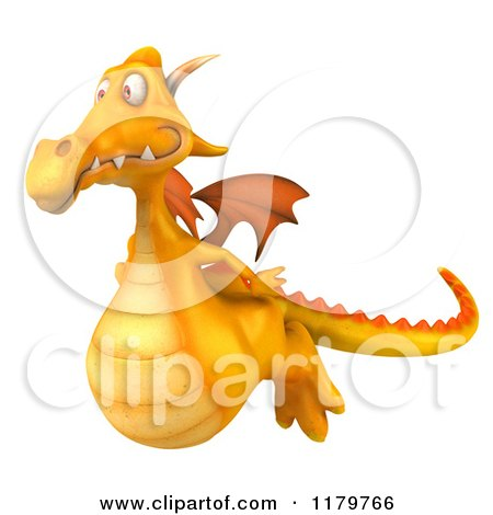 Clipart of a 3d Yellow Dragon Flying - Royalty Free CGI Illustration by Julos