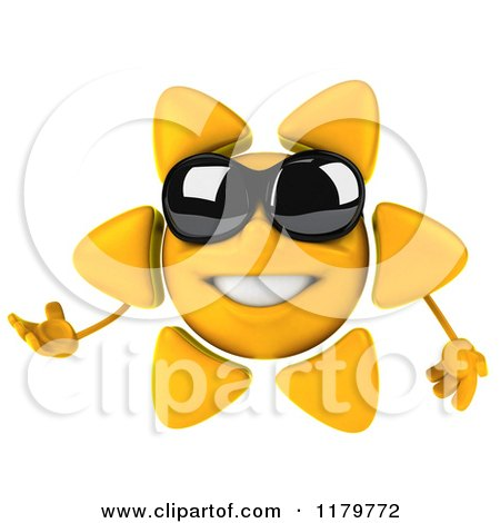 Clipart of a 3d Presenting Sun Character with Shades - Royalty Free CGI Illustration by Julos