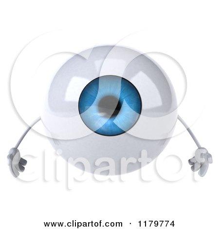 Clipart of a 3d Blue Eyeball Mascot - Royalty Free CGI Illustration by Julos