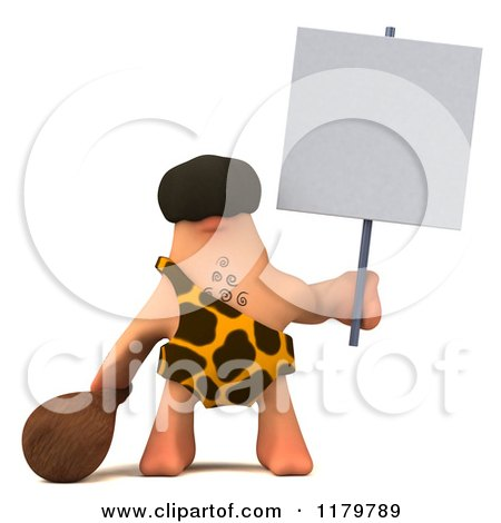 Clipart of a 3d Caveman Holding a Club and a Sign - Royalty Free CGI Illustration by Julos