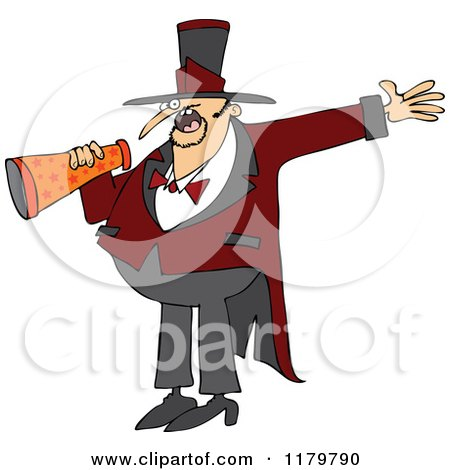 Cartoon of a Circus Ringmaster Man Making an Announcement with a Megaphone - Royalty Free Vector Clipart by djart