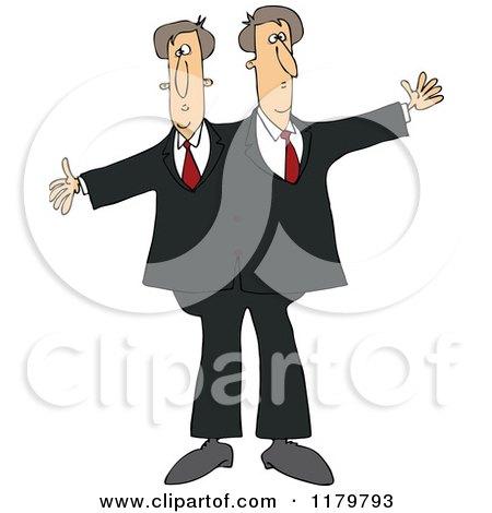Cartoon of Circus Freak Siamese Twin Men - Royalty Free Vector Clipart by djart