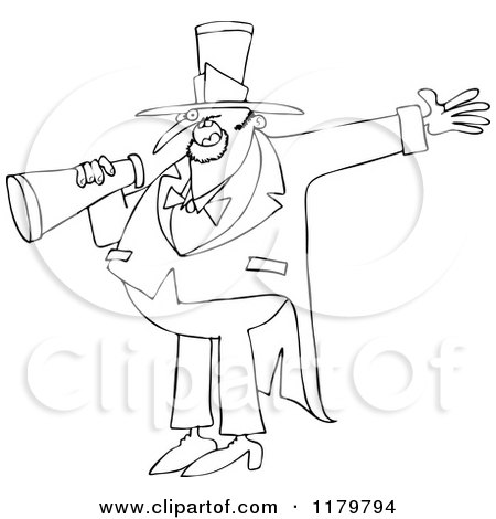 Cartoon of an Outlined Circus Ringmaster Man Making an Announcement with a Megaphone - Royalty Free Vector Clipart by djart