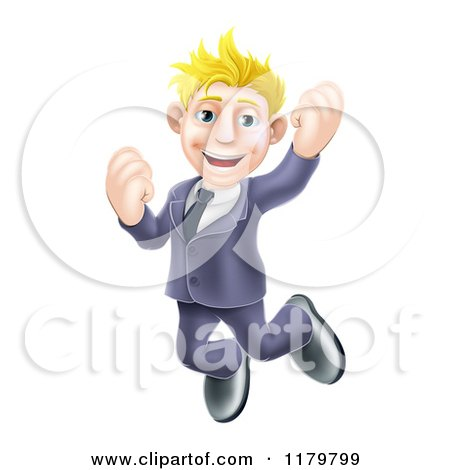 Cartoon of a Happy Blond Businessman Jumping - Royalty Free Vector Clipart by AtStockIllustration