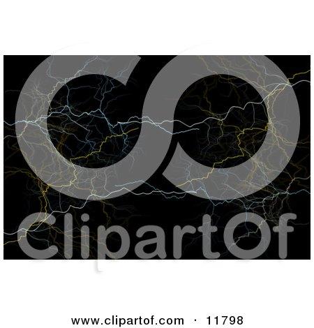 Colorful Lightning Bolts on Black Clipart Illustration by AtStockIllustration