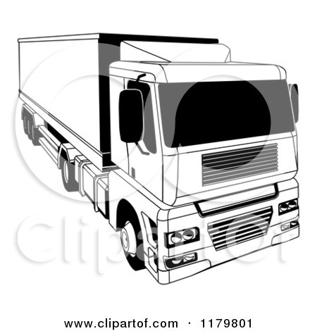 Clipart of a Black and White Shipping Big Rig Truck - Royalty Free Vector Illustration by AtStockIllustration