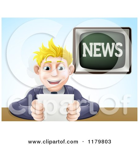 Cartoon of a Blond Male News Anchor Smiling and Holding Notes - Royalty Free Vector Clipart by AtStockIllustration