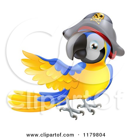 Cartoon of a Presenting Blue and Gold Pirate Macaw Parrot - Royalty Free Vector Clipart by AtStockIllustration