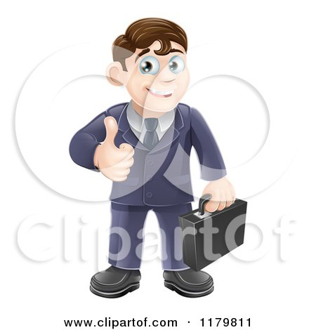 Cartoon of a Happy Brunette Businessman Holding a Thumb up - Royalty Free Vector Clipart by AtStockIllustration