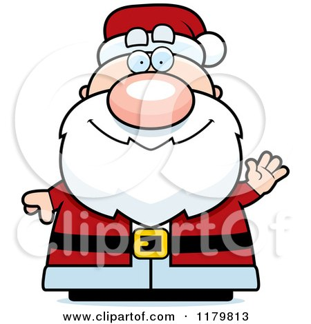 Cartoon of a Waving Chubby Santa - Royalty Free Vector Clipart by Cory Thoman