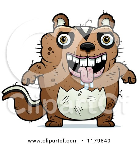 Clipart Of A Friendly Waving Chipmunk Wearing Easter Bunny