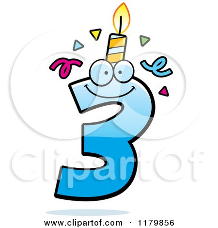 Cartoon of a Blue Three Birthday Candle Mascot - Royalty Free Vector Clipart by Cory Thoman