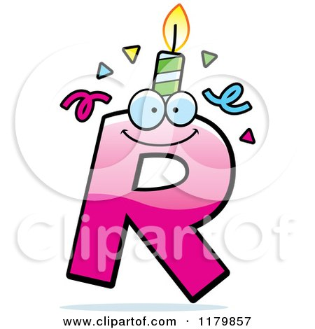 Cartoon of a Pink Letter R Birthday Candle Mascot - Royalty Free Vector Clipart by Cory Thoman