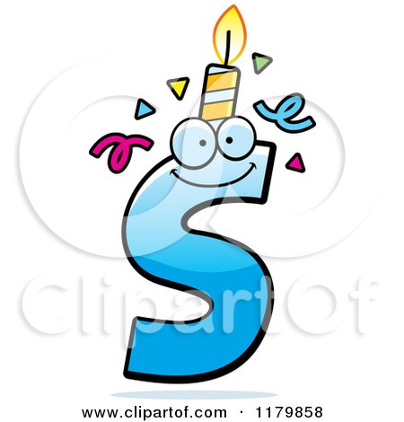 Cartoon of a Blue Letter S Birthday Candle Mascot - Royalty Free Vector Clipart by Cory Thoman