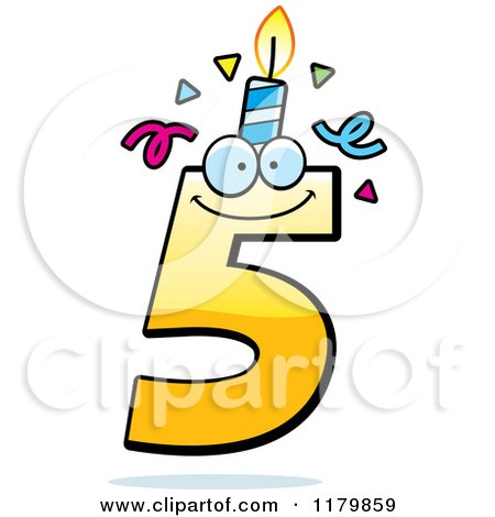 Cartoon of a Yellow Five Birthday Candle Mascot - Royalty Free Vector Clipart by Cory Thoman