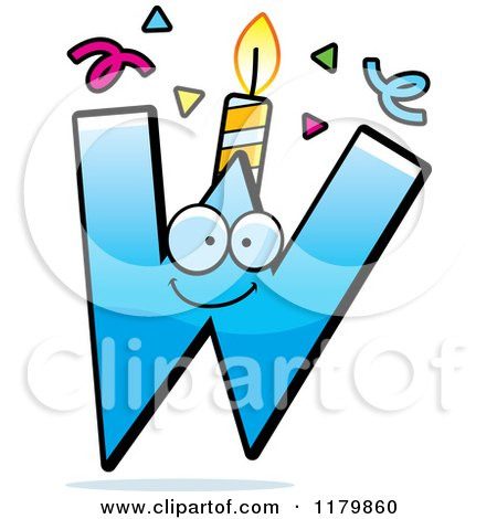 Cartoon of a Blue Letter W Birthday Candle Mascot - Royalty Free Vector Clipart by Cory Thoman