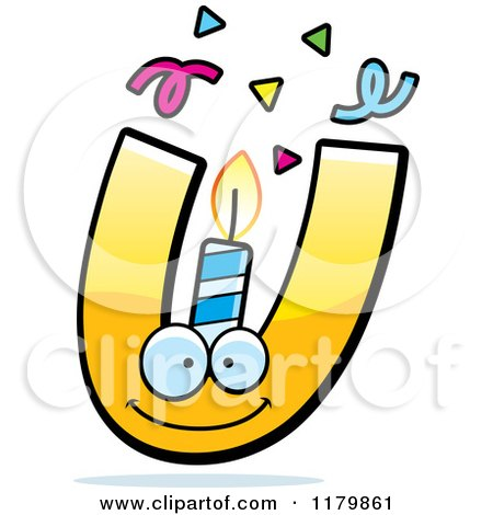Cartoon of a Yellow Letter U Birthday Candle Mascot - Royalty Free Vector Clipart by Cory Thoman
