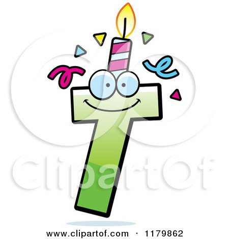 Cartoon of a Green Letter T Birthday Candle Mascot - Royalty Free Vector Clipart by Cory Thoman