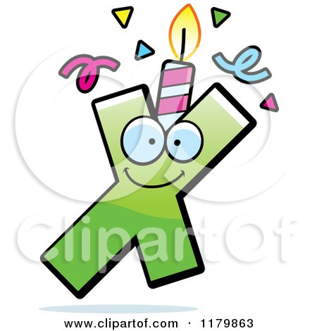 Cartoon of a Green Letter X Birthday Candle Mascot - Royalty Free Vector Clipart by Cory Thoman