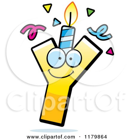 Cartoon of a Yellow Letter Y Birthday Candle Mascot - Royalty Free Vector Clipart by Cory Thoman